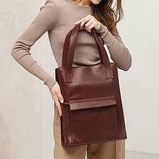 Кожаная женская сумка шоппер Бэтси с карманом бордовая Краст, фото 3