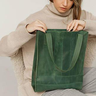 Кожаная женская сумка шоппер Бэтси зеленая, фото 2
