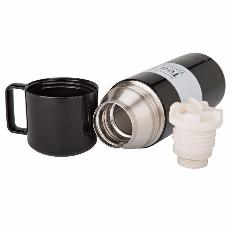 Термос TEA TIME 350 мл (Чорний з білою смугою) (md0018)