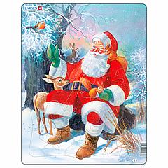 Пазл Larsen рамка-вкладыш Дед Мороз в лесу серия Макси (JUL7)
