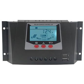 Контроллер заряда 30А 12В/24В JUTA с дисплеем и USB гнездом солнечное зарядное устройство WP3024D PWM