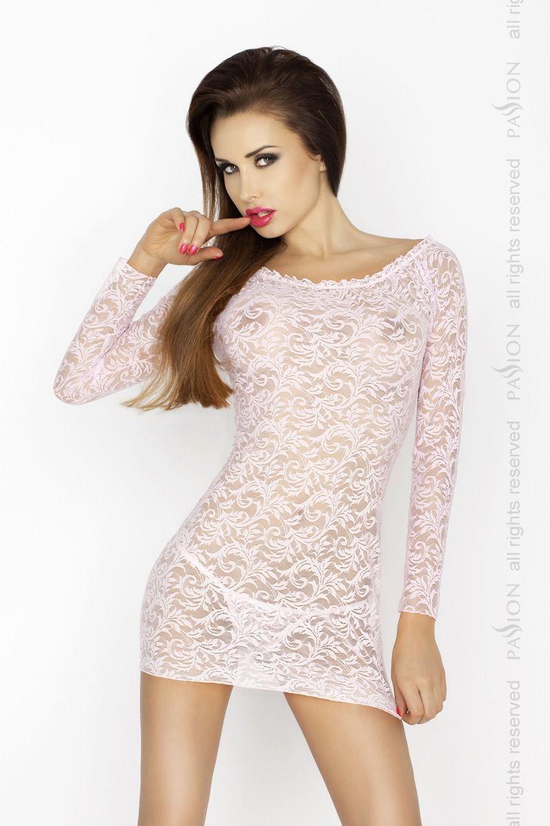 Прозрачная сорочка с длинным рукавом YOLANDA CHEMISE pink XXL/XXXL - Passion, трусики