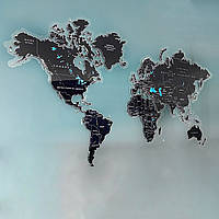 Карта мира с печатью на оргстекле и подсветкой по контуру S-1200x700мм