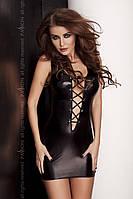 Платье под латекс с глубоким декольте LIZZY DRESS black XXL/XXXL - Passion Exclusive со шнуровкой