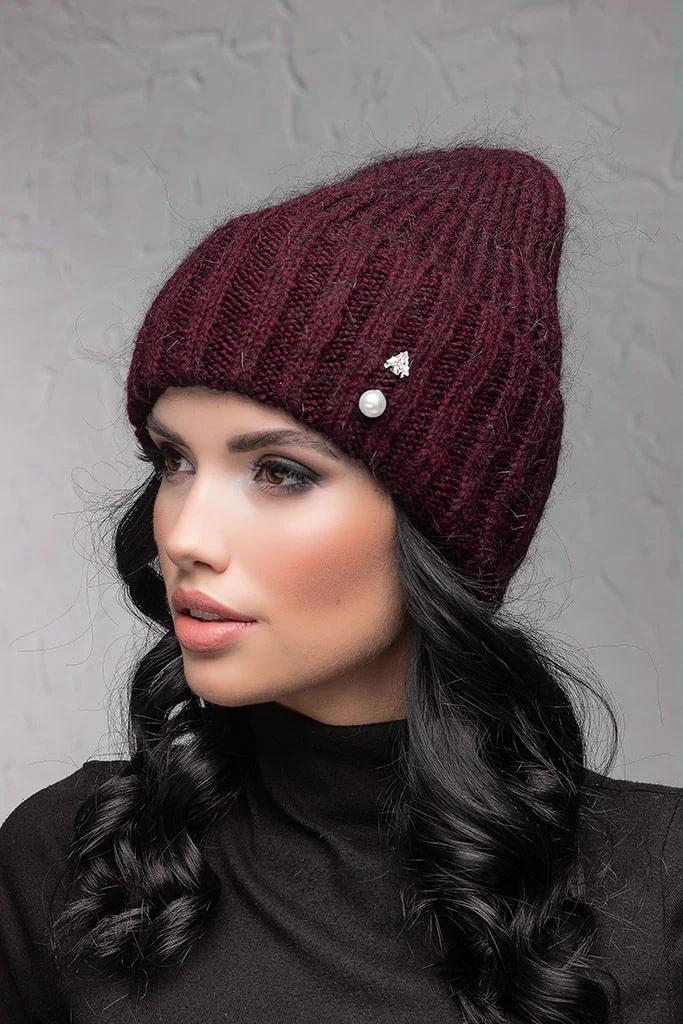 Женская шапка с отворотом Flirt Персия One Size марсала 1018