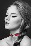 Чокер с кольцом для поводка Bijoux Pour Toi - FETISH Red, экокожа, фото 1