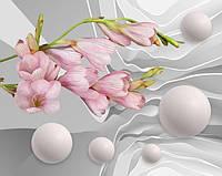 Фотообои 3Д шары и розовые цветы