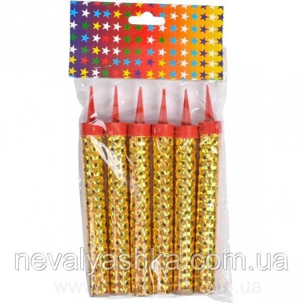 Фейерверк на торт Сухой Фонтан Свечи 12см Золото/Разноцветные, 004991