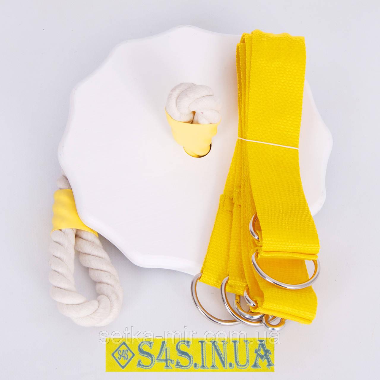 Тарзанка качеля детская спортивная из дерева подвесная «ЭЛИТ», гимнастическая, для улицы, белая