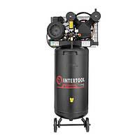 Компрессор 100 л, вертикальный, 3 кВт, 220 В, 10 атм, 500 л/мин, 2 цилиндра INTERTOOL PT-0017, фото 1