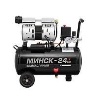 Компресор Мінськ-24 БМ, 24л, 1.1 кВт, 220 В, 8 атм, 145 л/хв, малошумний, безмасляний, 2 циліндра INTERTOOL, фото 1