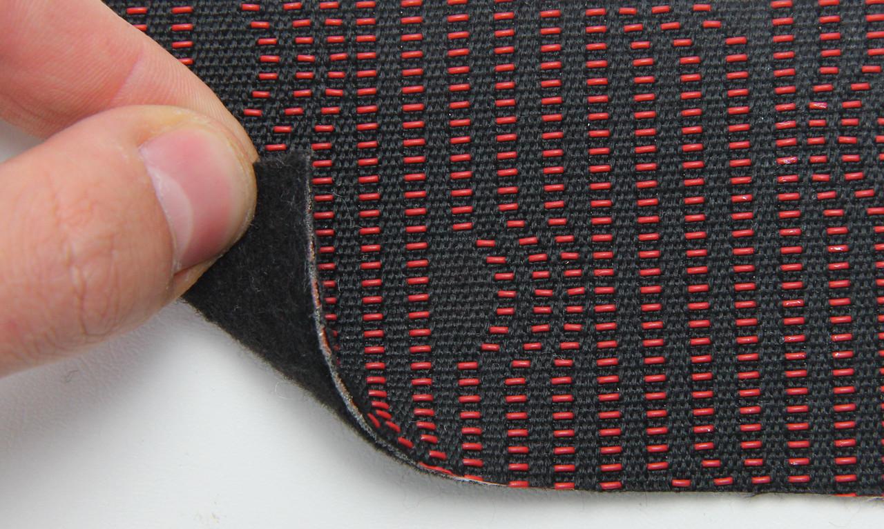 Автоткань оригинальная для центра сидений черный и красный 7608/1), основа на войлоке, толщина 3мм, шир 140см
