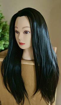 Голова учебная для парикмахеров. Чёрные волосы 60 см.