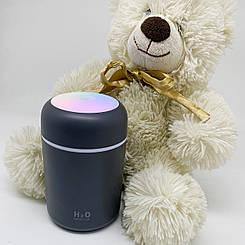 Увлажнитель воздуха мини Adna DQ107 ультразвуковой компактный, для дома, в детскую с подсветкой радугой Серый