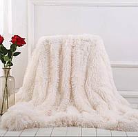 """Меховый плед травка Leopollo """"Белый снег"""" Турция полуторное на диван"""