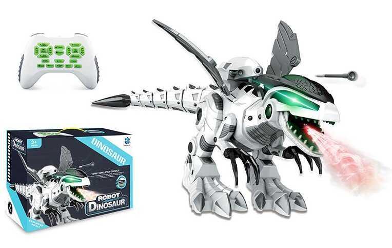 Динозавр на р/у 0878 (6) аккум 3.7 V, дышит паром, подсветка, звук, ходит, язык озвучки английский, в коробке