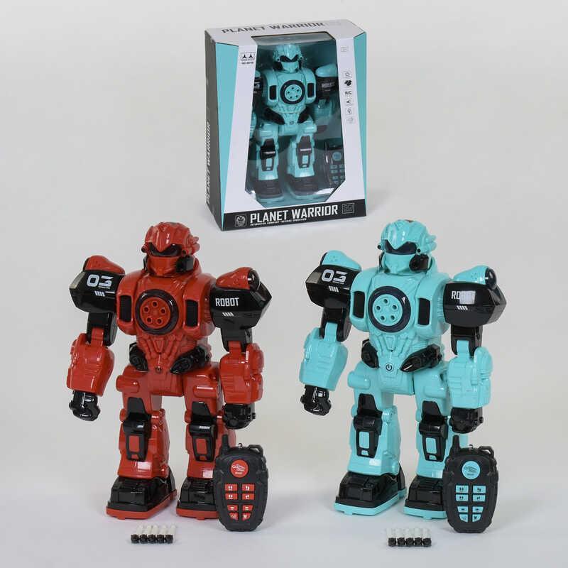 Робот на р/у 601 A /601 B (12/2) 2 вида, ходит, стреляет, световые и звуковые эффекты, на батарейках, в