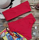 Купальник бандо червоний з завищеною талією, фото 3
