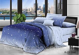 Двоспальний комплект з прост. 180х220 «Блакитні зірочки» з бязі голд