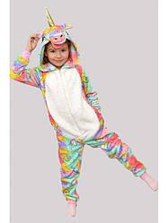 Пижама Кигуруми детский на молнии с капюшоном в Единорожках велсофт 38 р. (zolk_Bl12492-38)