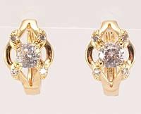 """Серьги M&L желтый оттенок колечки """"Гармония с кристаллами"""", фото 1"""