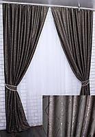 Готовые шторы лен блэкаут, коллекция «Савана». Шторы в зал, гостиную, спальню. Цвет какао. Код 631ш
