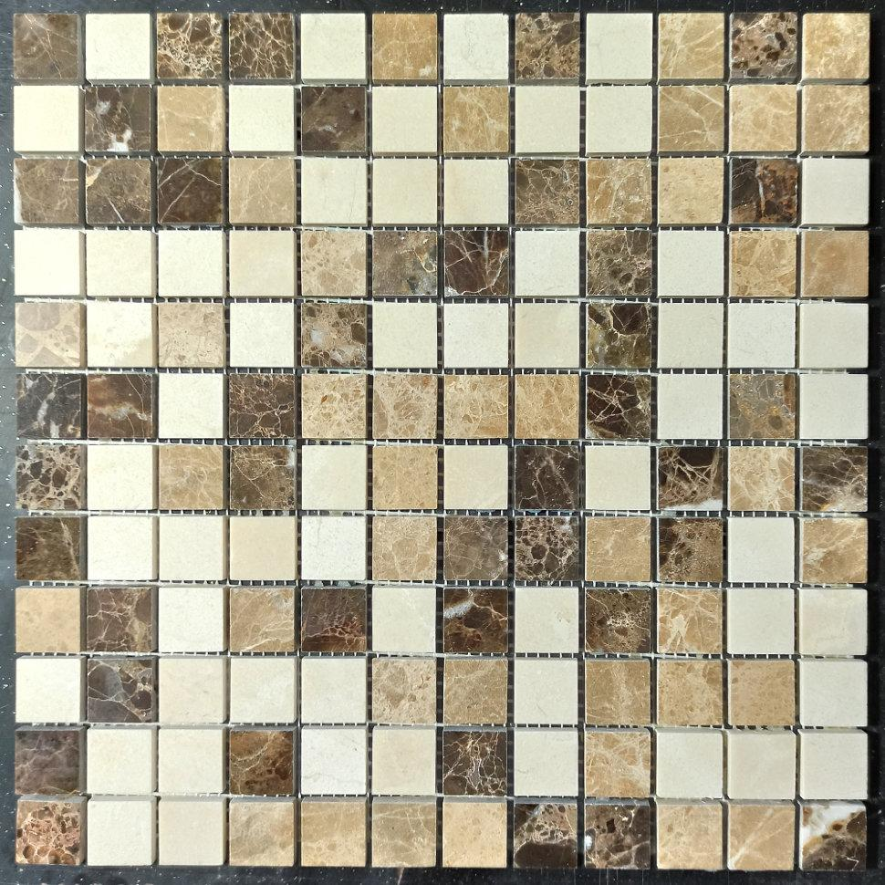 Мраморная мозаика Emperador Dark + Emperador Light + Crema Marfil полированная МКР-2П (23x23)
