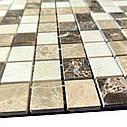 Мраморная мозаика Emperador Dark + Emperador Light + Crema Marfil полированная МКР-2П (23x23), фото 3