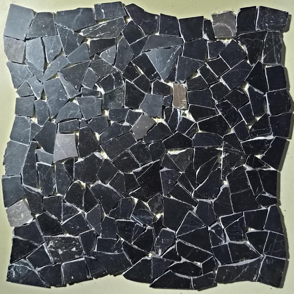 Черная мозаика из мрамора Marquina Black полированная МКР-ХП (Хаотичная)