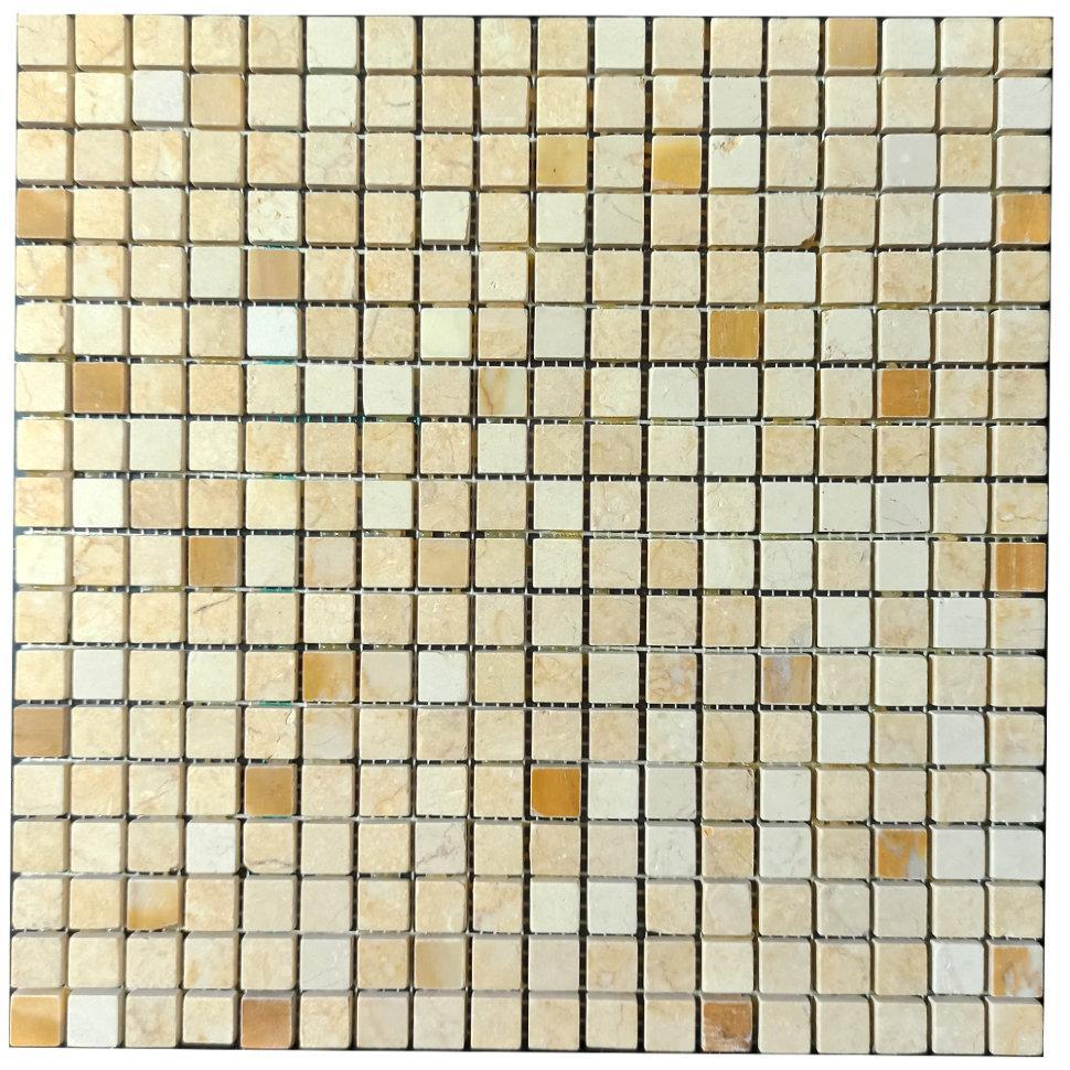 Мраморная мозаика Giallo Siena - Giallo Cleopatra - Giallo Atlantida МКР-4ПВ (15x15)