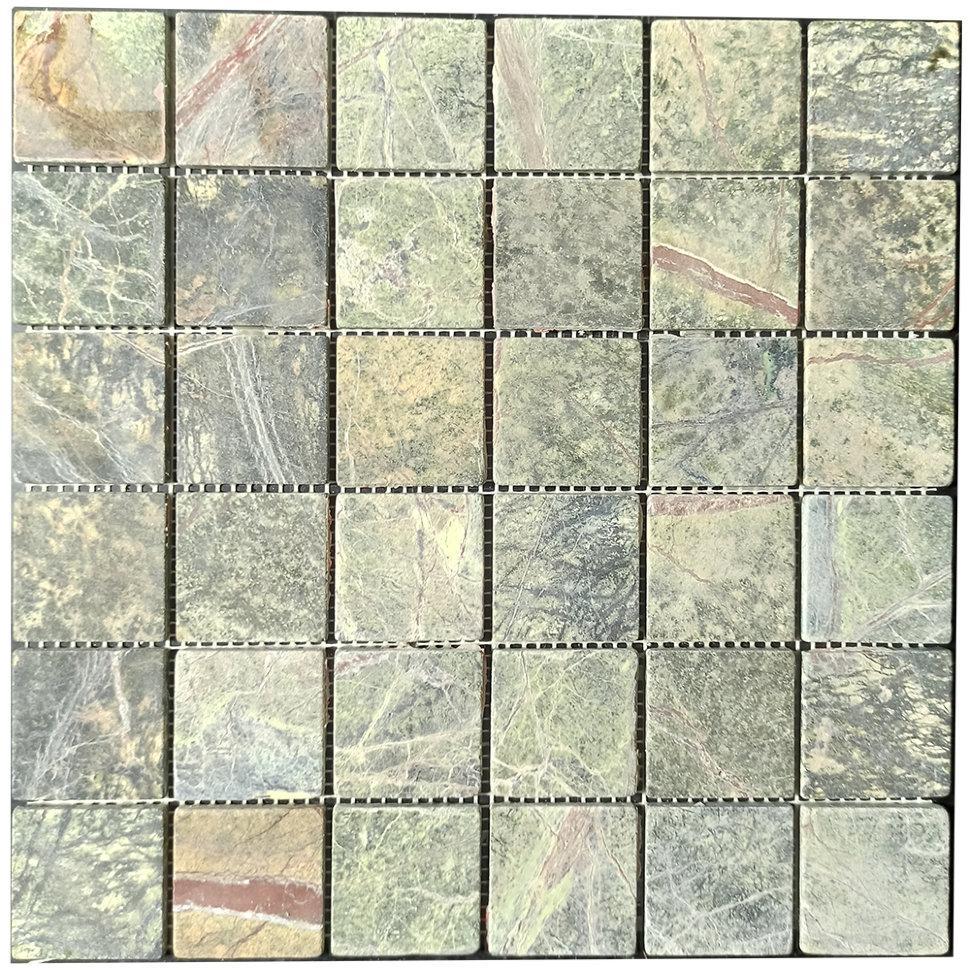 Мраморная мозаика Bidasar Green матовая МКР-3СВ (47x47)
