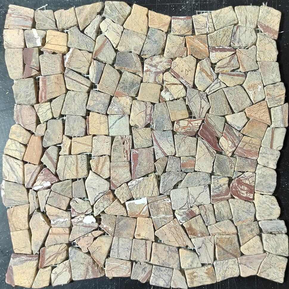 Мраморная мозаика Bidasar Brown матовая МКР-ХСВ (Хаотичная)