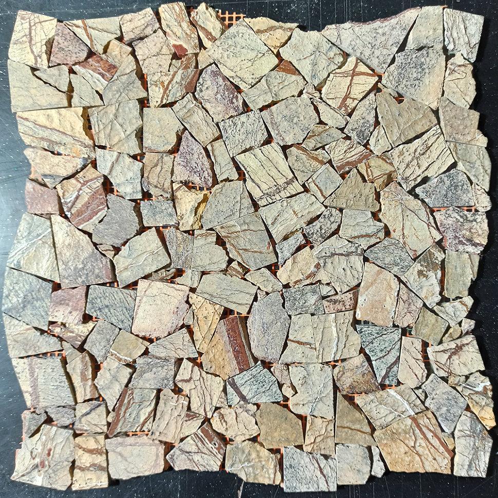 Мраморная мозаика Bidasar Brown полированная МКР-ХП (Хаотичная)