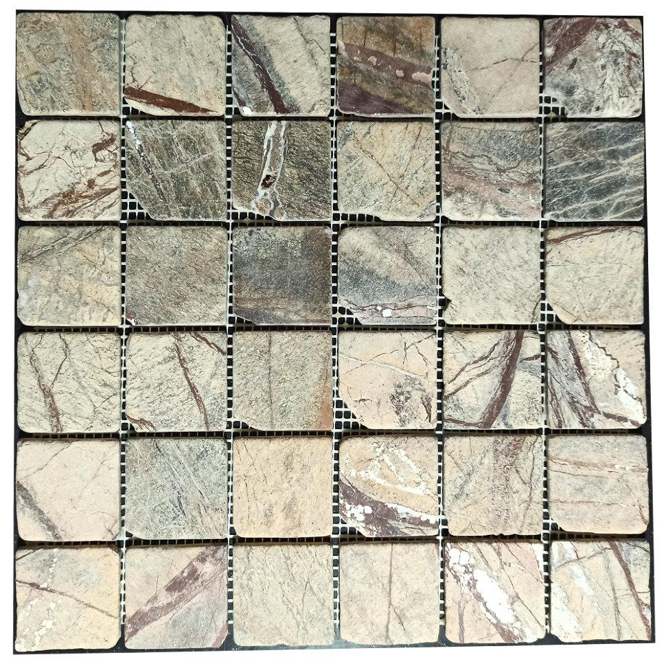 Мраморная мозаика Bidasar Brown антик МКР-3СВА (47x47)