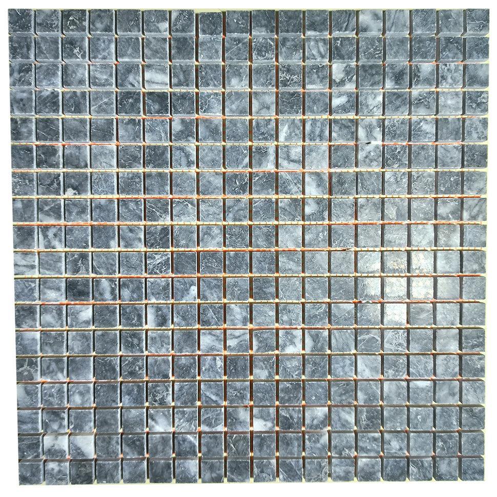 Тёмно-серая мозаика из мрамора полированная МКР-4П (15x15)