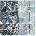 Тёмно-серая мозаика из мрамора антик МКР-3СВА (47x47), фото 4
