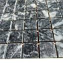 Тёмно-серая мозаика из мрамора полированная МКР-2П (23x23), фото 3