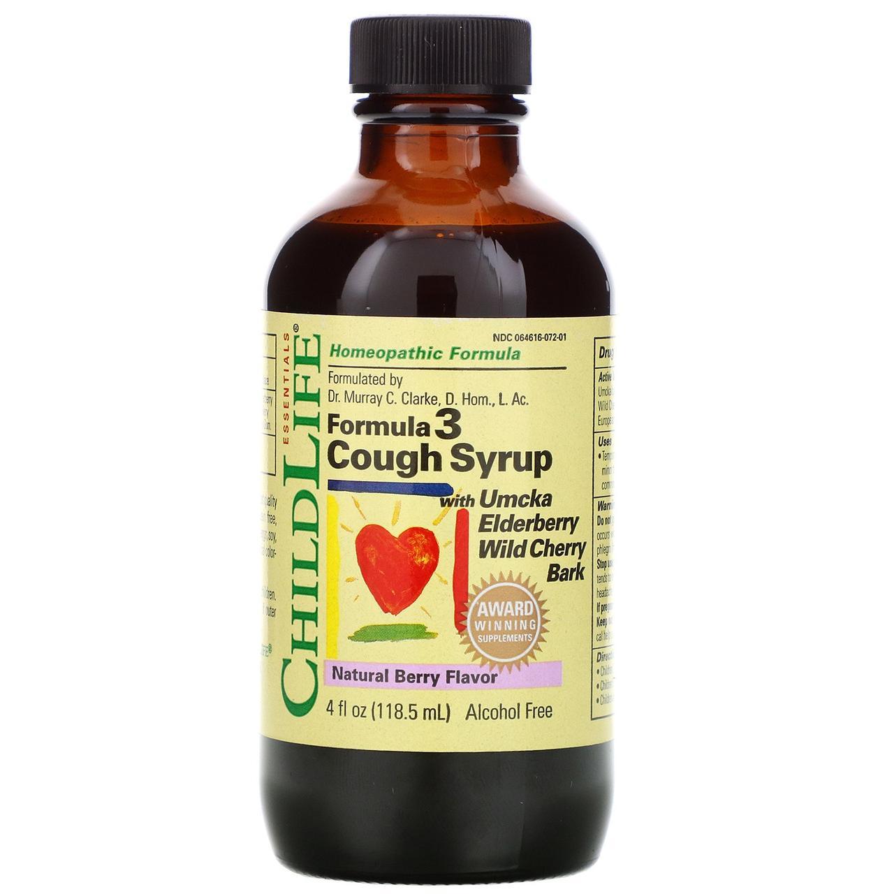 Сироп от кашля, формула 3, без спирта, натуральный ягодный вкус, 118,5 мл ChildLife, Essentials