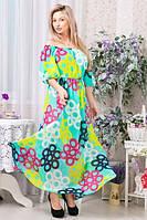 Летнее длинное яркое бирюзовое шифоновое платье р.42-46, фото 1