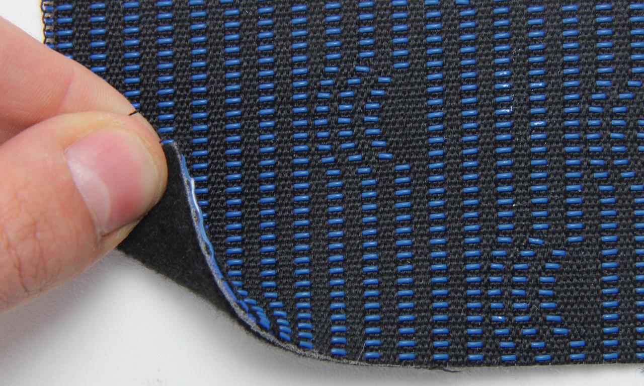 Автоткань оригинальная для центра сидений (черный и синий 7611/2), основа на войлоке, толщина 3мм, шир 140см