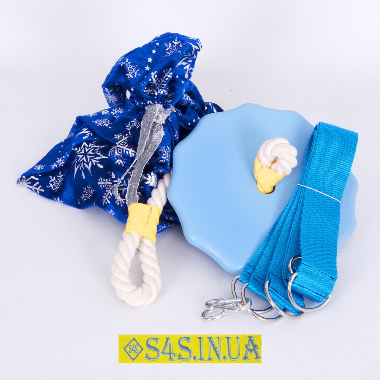 Подарок Детские качели тарзанка для улицы, подвесные из дерева «ЭЛИТ», лазурь, в подарочной упаковке
