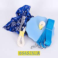 Подарок Детские качели тарзанка для улицы, подвесные из дерева «ЭЛИТ», лазурь, в подарочной упаковке, фото 1