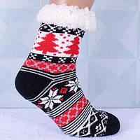 Домашні Чорні Жіночі Напівшерстяні Тапочки-Шкарпетки з Антиковзною Підошвою