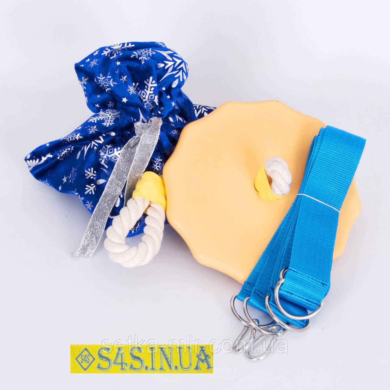Подарок Детские качели тарзанка для улицы, подвесные из дерева «ЭЛИТ», золото, в подарочной упаковке