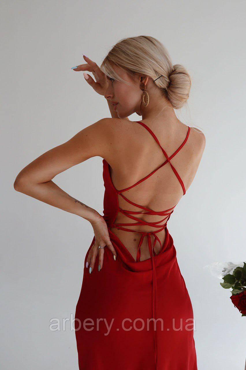 Шикарное платье-комбинация на шнуровке