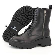 Женские зимние ботинки в стиле Balenciaga Tractor, кожа, (с мехом), черный, Вьетнам 38