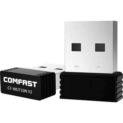 USB адаптер WI-FI Comfast cf-wu710n v2 мини на чипе Черный (692542471)