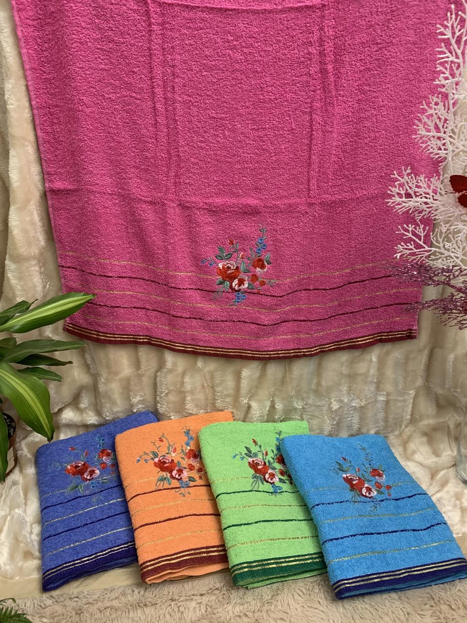Банное махровое полотенце Розочками 70*1.25