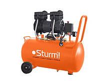 Компресор 24 л, 1.5 кВт, 8 атм, 209 л/хв, малошумний, безмасляний, 2 циліндр Sturm AC93224OL
