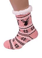 Домашні Рожеві Жіночі Напівшерстяні Тапочки-Шкарпетки з Антиковзною Підошвою